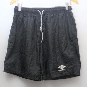 90s UMBRO Black Nylon Spell Out Athletic Shorts
